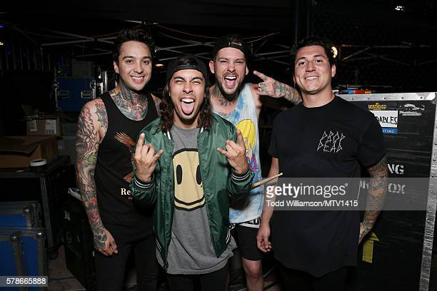 Musicians Tony Perry Vic Fuentes Mike Fuentes and Jaime Preciado of the band Pierce the Veil attend the MTV Fandom Awards San Diego at PETCO Park on...