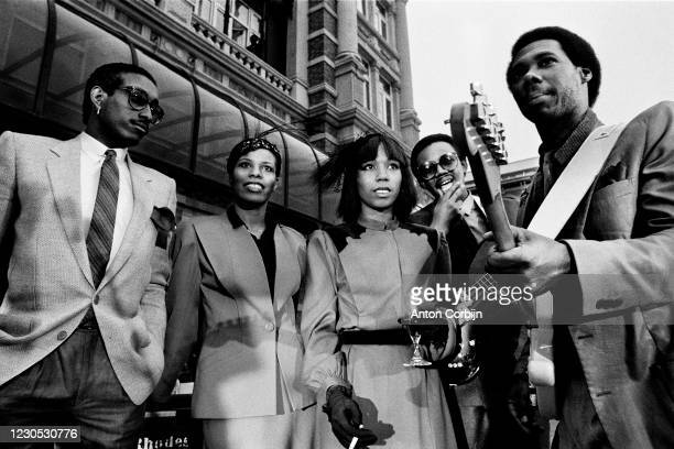 Musicians Tony Thompson, Alfa Anderson, Luci Martin, Bernard Edwards and Nile Rodgers from Chic poses for a portrait in The Hague, in 1979.