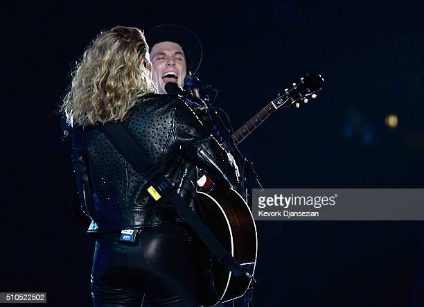 Musicians Tori Kelly and James Bay perform onstage during The 58th GRAMMY Awards at Staples Center on February 15 2016 in Los Angeles California