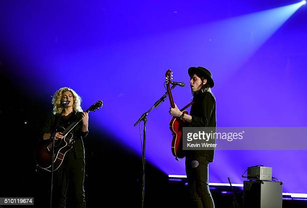 Musicians Tori Kelly and James Bay rehearse onstage during The 58th GRAMMY Awards at Staples Center on February 13 2016 in Los Angeles California