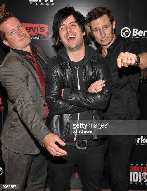 Musicians Tré Cool Billie Joe Armstrong and Mike Dirnt of Green Day attend the World Premiere of American Idiot Hosted By Levi's at the Tony Award...