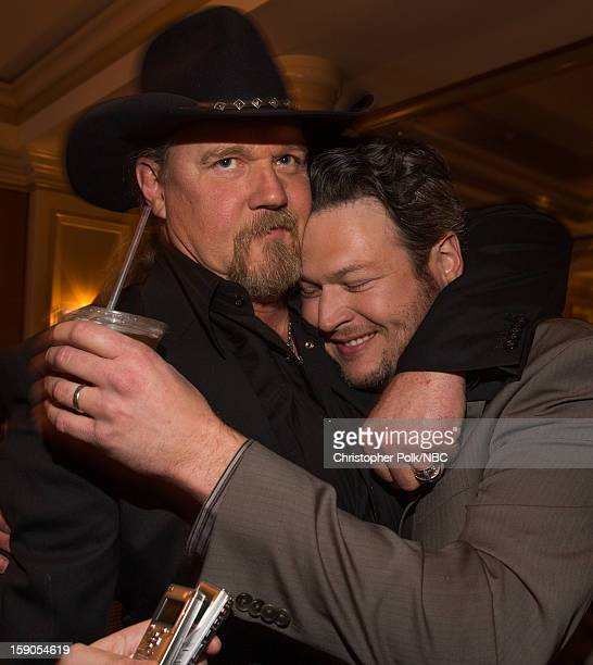 Musicians Trace Adkins and Blake Shelton at the NBCUniversal 2013 TCA Winter Press Tour Party held at The Langham Huntington Hotel and Spa on January...