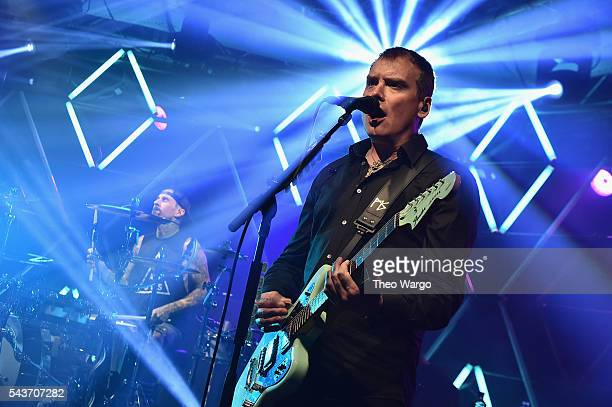 Musicians Travis Barker and Matt Skiba perform at iHeartRadio Live featuring Blink182 presented by Capital One and Uber at the iHeartRadio Theater...