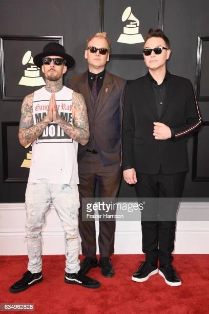 Musicians Travis Barker Mark Hoppus and Matt Skiba of blink182 attend The 59th GRAMMY Awards at STAPLES Center on February 12 2017 in Los Angeles...