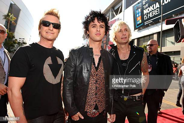 Musicians Tre Cool Billie Joe Armstrong and Mike Dirnt of Green Day arrive at the 2012 MTV Video Music Awards at Staples Center on September 6 2012...