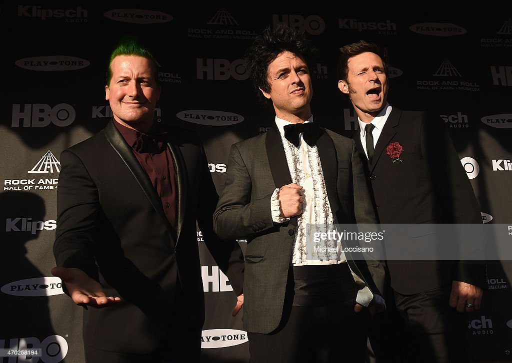 Musicians Tre Cool, Billie Joe Armstrong and Mike Dirnt of Green Day attend the 30th Annual Rock And Roll Hall Of Fame Induction Ceremony at Public Hall on April 18, 2015 in Cleveland, Ohio.