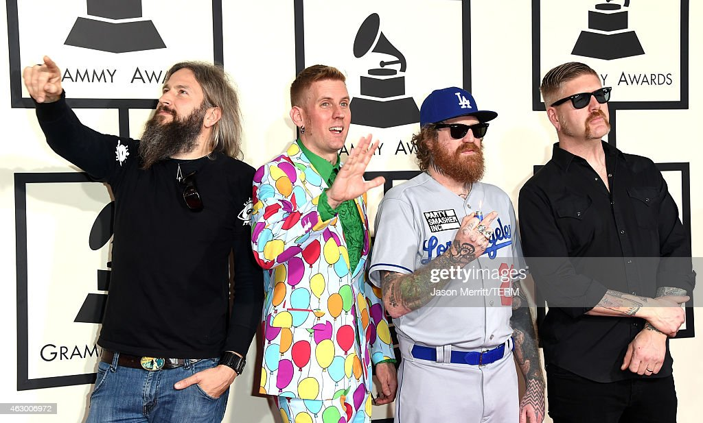 Musicians Troy Sanders, Brann Dailor, Brent Hinds, and Bill Kelliher of Mastodon attend The 57th Annual GRAMMY Awards at the STAPLES Center on February 8, 2015 in Los Angeles, California.