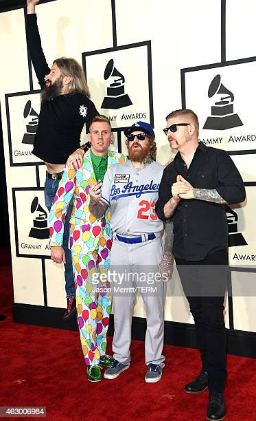 Musicians Troy Sanders Brann Dailor Brent Hinds and Bill Kelliher of Mastodon attend The 57th Annual GRAMMY Awards at the STAPLES Center on February...
