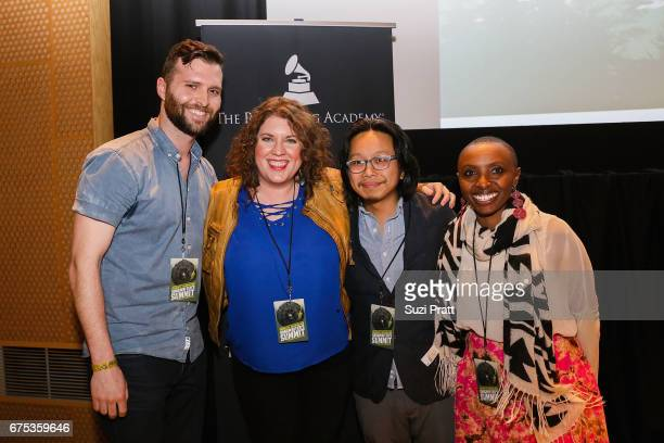 Musicians Tyler Edwards Amber Sweeney Tomo Nakayama and Naomi Wachira pose for a photo at the GRAMMYPro Songwriter's Summit at Museum of Pop Culture...