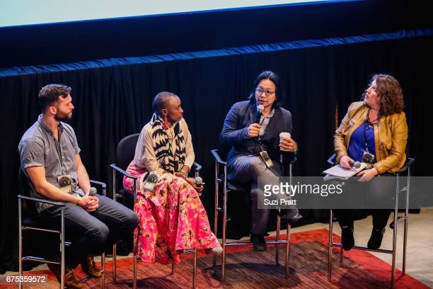 Musicians Tyler Edwards Naomi Wachira Tomo Nakayama and Amber Sweeney speak at the GRAMMYPro Songwriter's Summit at Museum of Pop Culture on April 30...