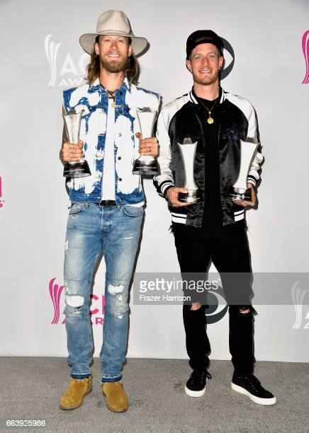 Musicians Tyler Hubbard and Brian Kelley of the music group Florida Georgia Line winners of the award for Vocal Event of the Year and Single Record...