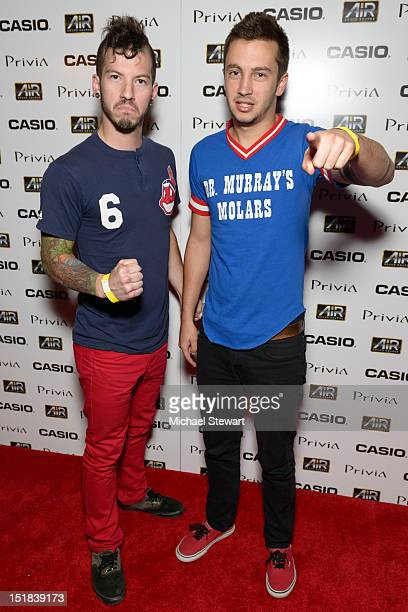 Musicians Tyler Joseph and Josh Dun of Twenty One Pilots attend Beyond Sound Launch Party at The Edison Ballroom on September 11, 2012 in New York...