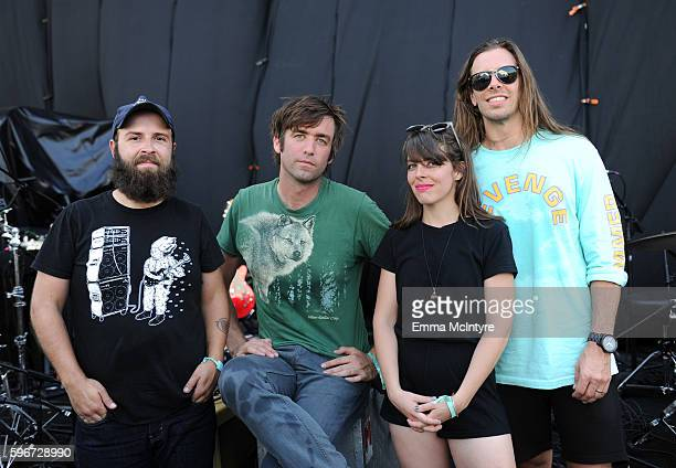 Musicians Tyler Long Joe Reinhart Frances Quinlan and Mark Quinlan of Hop Along pose for a portrait during FYF Fest 2016 at Los Angeles Sports Arena...
