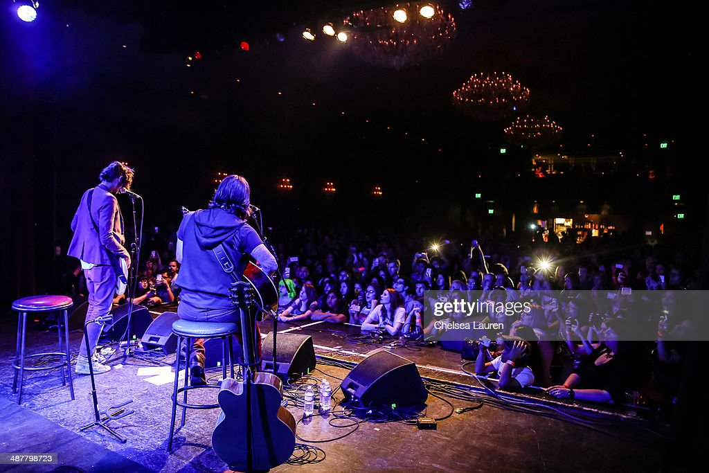 Musicians Tyson Ritter (L) and Nickolas Von Wheeler of The All-American Rejects perform at Lyme Light: the concert benefiting the tick-borne disease alliance at El Rey Theatre on May 1, 2014 in Los Angeles, California.