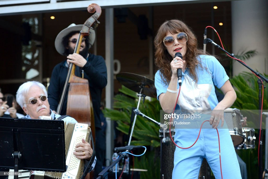 Musicians Van Dyke Parks, Don Was and Jenny Lewis celebrate Ringo Starr's 77th birthday at the annual 'Peace & Love' celebration at Capitol Records Tower on July 7, 2017 in Los Angeles, California.