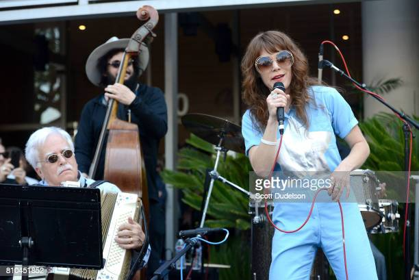 Musicians Van Dyke Parks Don Was and Jenny Lewis celebrate Ringo Starr's 77th birthday at the annual Peace Love celebration at Capitol Records Tower...