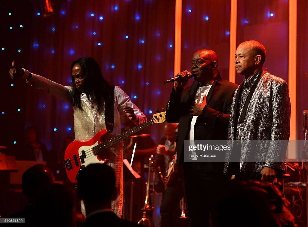 Musicians Verdine White, Philip Bailey and Ralph Johnson of Earth, Wind & Fire perform onstage during the 2016 Pre-GRAMMY Gala and Salute to Industry Icons honoring Irving Azoff at The Beverly Hilton Hotel on February 14, 2016 in Beverly Hills, California.