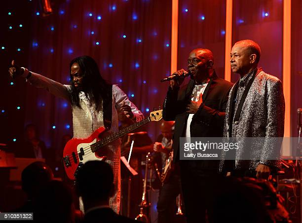 Musicians Verdine White Philip Bailey and Ralph Johnson of Earth Wind Fire perform onstage during the 2016 PreGRAMMY Gala and Salute to Industry...