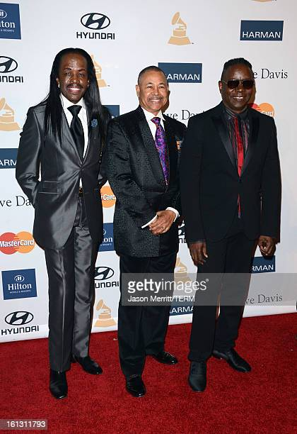 Musicians Verdine White Ralph Johnson and Philip Bailey of Earth Wind Fire arrive at Clive Davis The Recording Academy's 2013 PreGRAMMY Gala and...