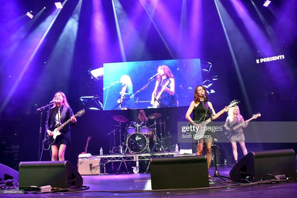 d6c943eb8f8ea Musicians Vicki Peterson, Debbi Peterson, Susanna Hoffs and Annette ...