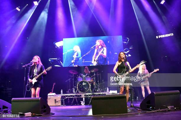 Musicians Vicki Peterson Debbi Peterson Susanna Hoffs and Annette Zilinskas of The Bangles perform onstage during KEarth's Totally 80's Show at Honda...
