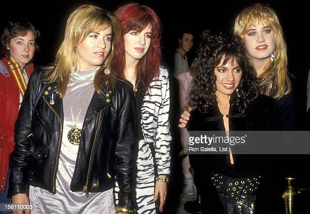 Musicians Vicki Peterson Michael Steele Susanna Hoffs and Debbi Peterson of The Bangles attend the Fifth Annual American Video Awards on February 26...