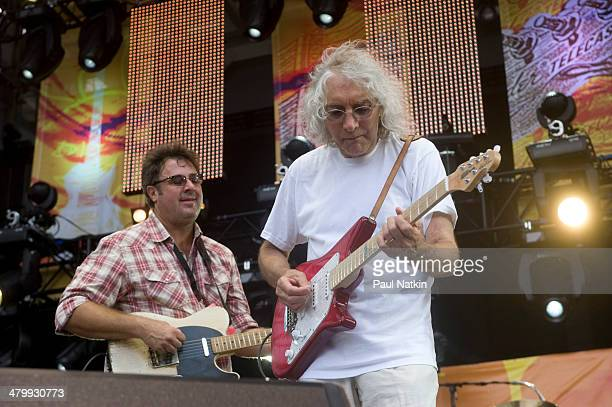 Musicians Vince Gill and Albert Lee perform onstage at Eric Clapton's Crossroads Guitar Festival held at Toyota Park Bridgeview Illinois June 26 2010