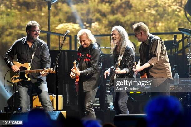 Musicians Vince Gill Joe Walsh Timothy B Schmit and Don Henley of The Eagles perform onstage during 'An Evening with The Eagles' at The Forum on...