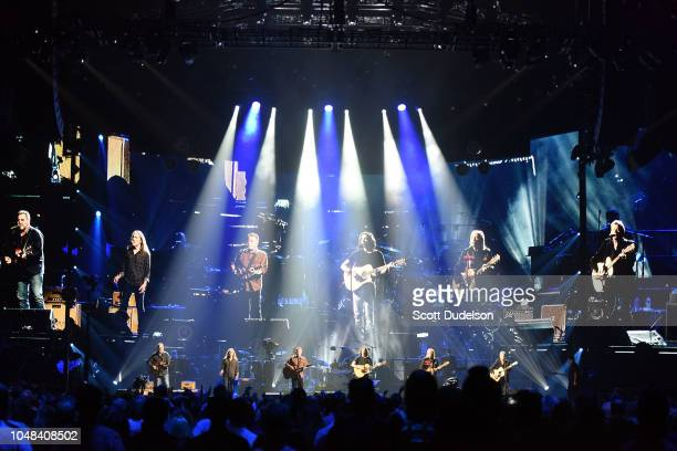 Musicians Vince Gill, Timothy B. Schmit, Don Henley, Deacon Frey and Joe Walsh of The Eagles perform onstage during 'An Evening with The Eagles' at...