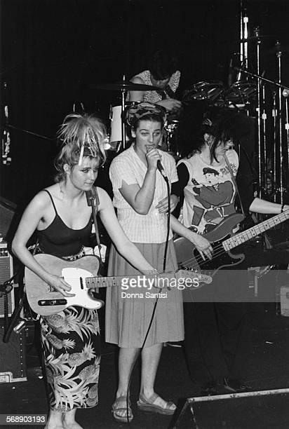 Musicians Viv Albertine Ari Up and Tessa Pollitt with their band 'The Slits' on stage at Whisky in Los Angeles circa 1979
