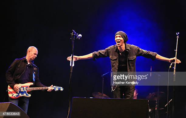 Musicians Wayne Kramer and Doug Pinnick perform onstage at the USPS Hendrix Stamp Event Los Lonely Boys during the 2014 SXSW Music Film Interactive...