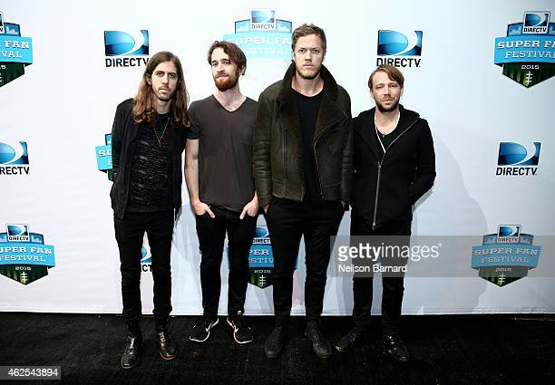 Musicians Wayne Sermon Daniel Platzman Dan Reynolds and Ben McKee of Imagine Dragons attend Day 3 of the DirecTV Super Fan Festival at Pendergast...