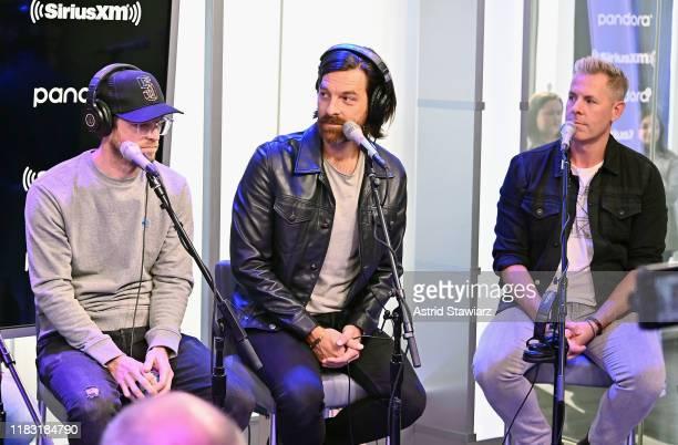 Musicians Whit Sellers Geoff Sprung and Trevor Rosen of Old Dominion speak during SiriusXM's Town Hall With Old Dominion at SiriusXM Studios on...