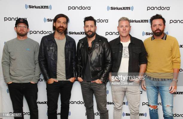 Musicians Whit Sellers Geoff Sprung Matthew Ramsey Trevor Rosen and Brad Tursi of Old Dominion attend SiriusXM's Town Hall With Old Dominion at...