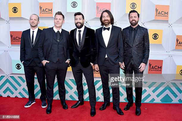 Musicians Whit Sellers Trevor Rosen Matthew Ramsey Brad Tursi and Geoff Sprung of Old Dominion attend the 51st Academy of Country Music Awards at MGM...