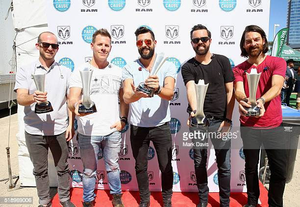 Musicians Whit Sellers Trevor Rosen Matthew Ramsey Geoff Sprung and Brad Tursi of Old Dominion pose with ACM's 'New Artist Award' during the 4th ACM...