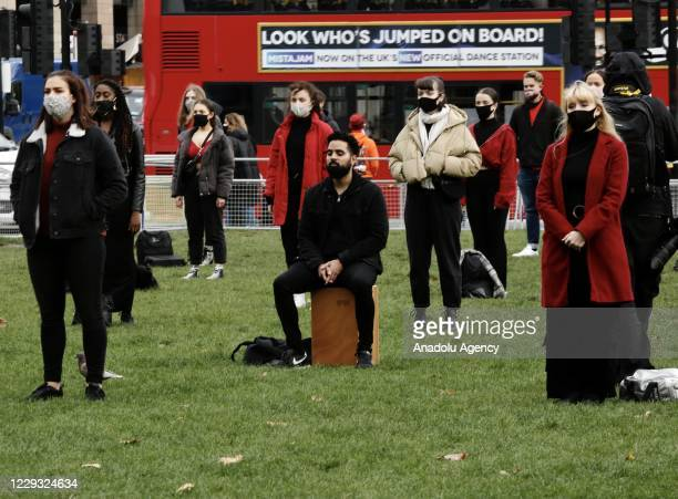 Musicians, who had financial difficulties due to the novel coronavirus pandemic restrictions, gather at Parliament Square during a demonstration...