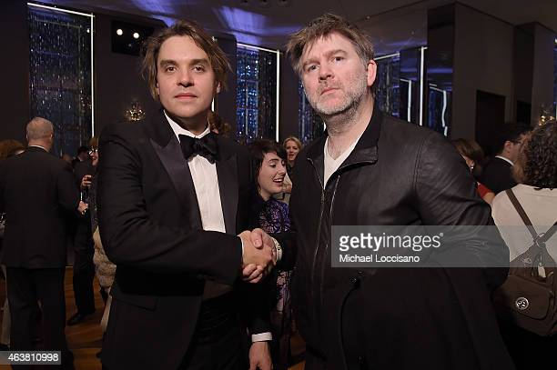 Musicians Will Butler of The Arcade Fire and James Murphy of LCD Soundsystem attend The New York Times Magazine Relaunch Event on February 18 2015 in...