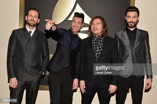 Musicians Will Farquarson Dan Smith Chris Wood and Kyle Simmons of Bastille attend The 57th Annual GRAMMY Awards at the STAPLES Center on February 8...