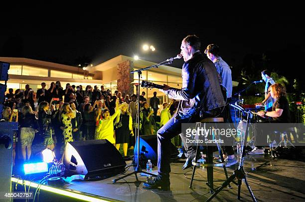 Musicians Will Farquarson Dan Smith Chris Wood and Kyle Simmons of Bastille perform onstage during Launch Of CHOO08 hosted by Jimmy Choo's Sandra...