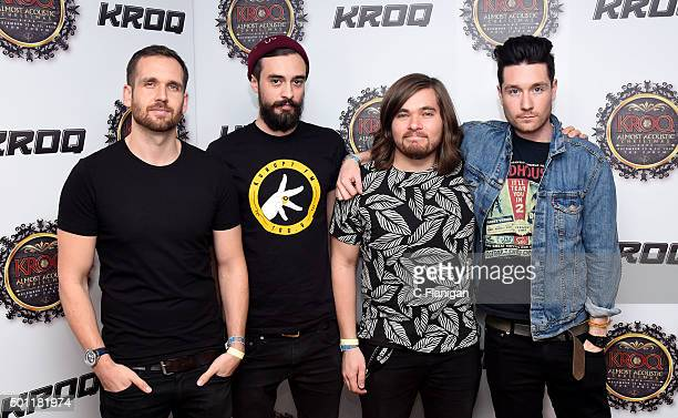 Musicians Will Farquarson Kyle J Simmons Chris 'Woody' Wood and Dan Smith of Bastille pose backstage during 1067 KROQ Almost Acoustic Christmas 2015...