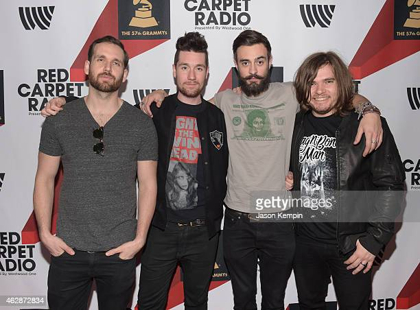 Musicians William Farquarson Dan Smith Kyle J Simmon and Chris 'Woody' Wood of musical group Bastille attend Red Carpet Radio Backstage at the...