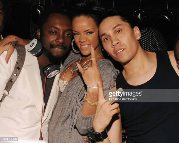 Musicians william Rihanna and Taboo attend the official Black Eyed Peas album release party hosted by Target at The Griffin on June 10 2009 in New...