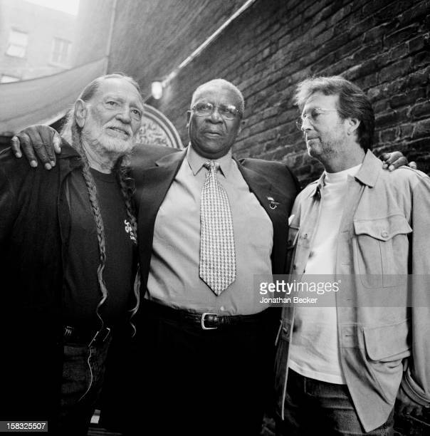 Musicians Willie Nelson, B.B. King and Eric Clapton are photographed for Vanity Fair Magazine on June 2, 2003 in the back alley of the Apollo Theater...