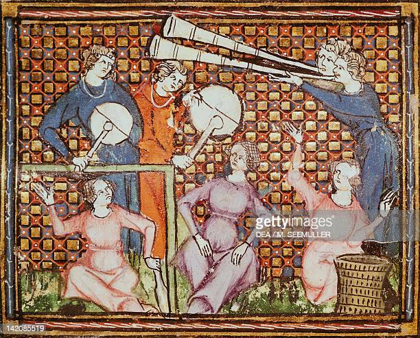 Musicians with drums and other instruments miniature France 14th Century