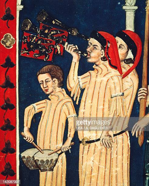 Musicians with drums and other instruments miniature Italy 14th Century