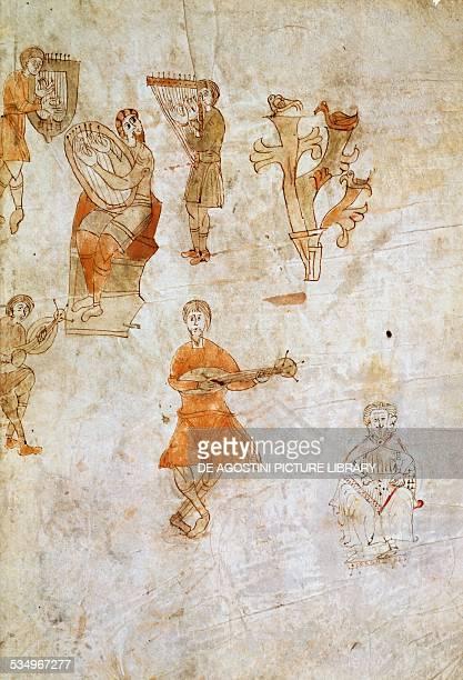 Musicians with instruments miniature from De institutione musica by Severinus Boethius manuscript Copyright Veneranda Biblioteca Ambrosiana Milan...