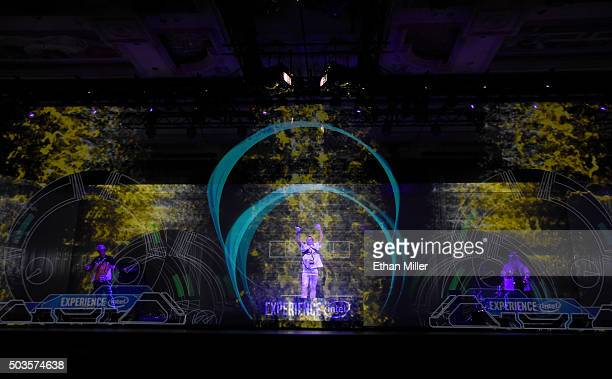 Musicians with Intel Curie Module wearables make music using gestures before a keynote address by Intel Corp CEO Brian Krzanich at CES 2016 at The...