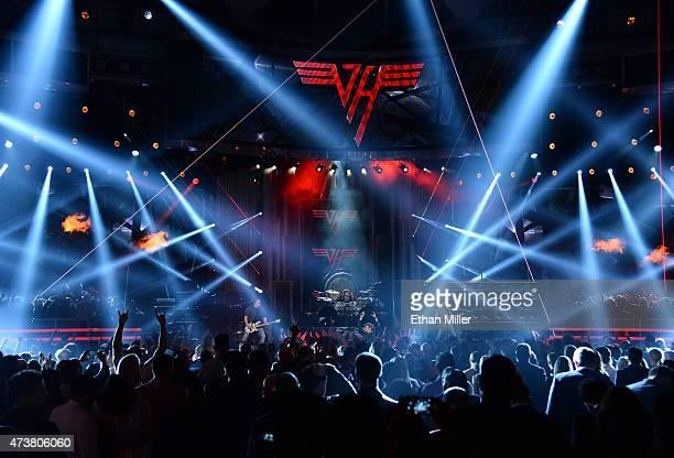 Musicians Wolfgang Van Halen Alex Van Halen David Lee Roth and Eddie Van Halen of Van Halen perform onstage during the 2015 Billboard Music Awards at...