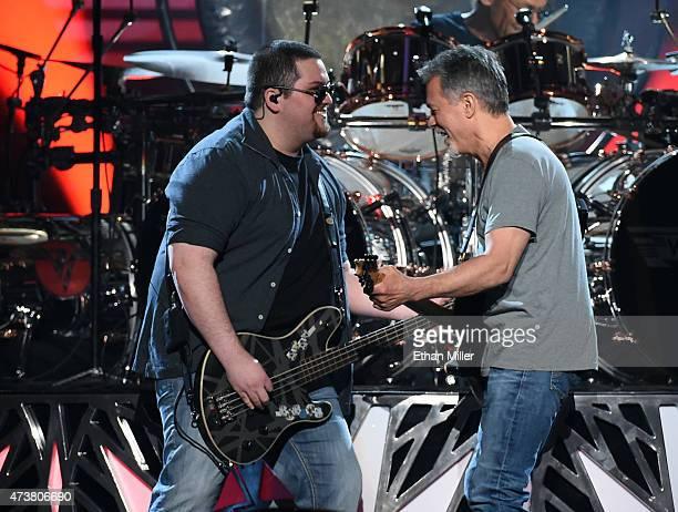 Musicians Wolfgang Van Halen and Eddie Van Halen of Van Halen perform onstage during the 2015 Billboard Music Awards at MGM Grand Garden Arena on May...